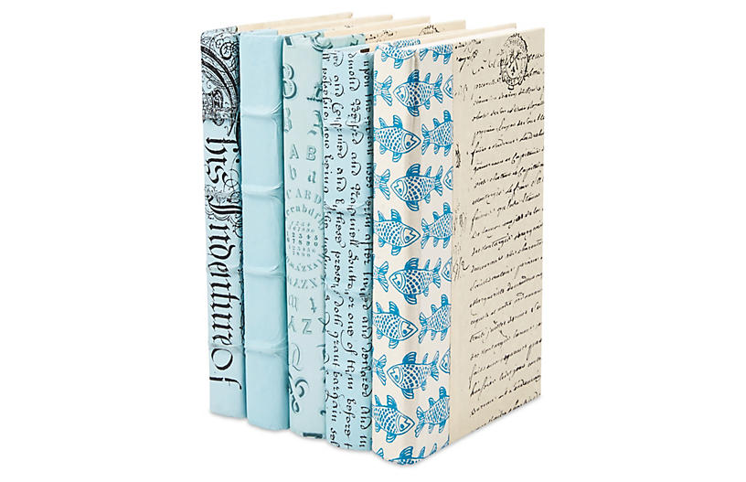 5 Designer Books, Light Blue  Decorative Book Sets  Books & Bookends  Gifts & Accessories  Decor is part of Books - Even if you read from a screen, you can still create the Old World charm of a book nook with these five volumes in a palette of cool blues