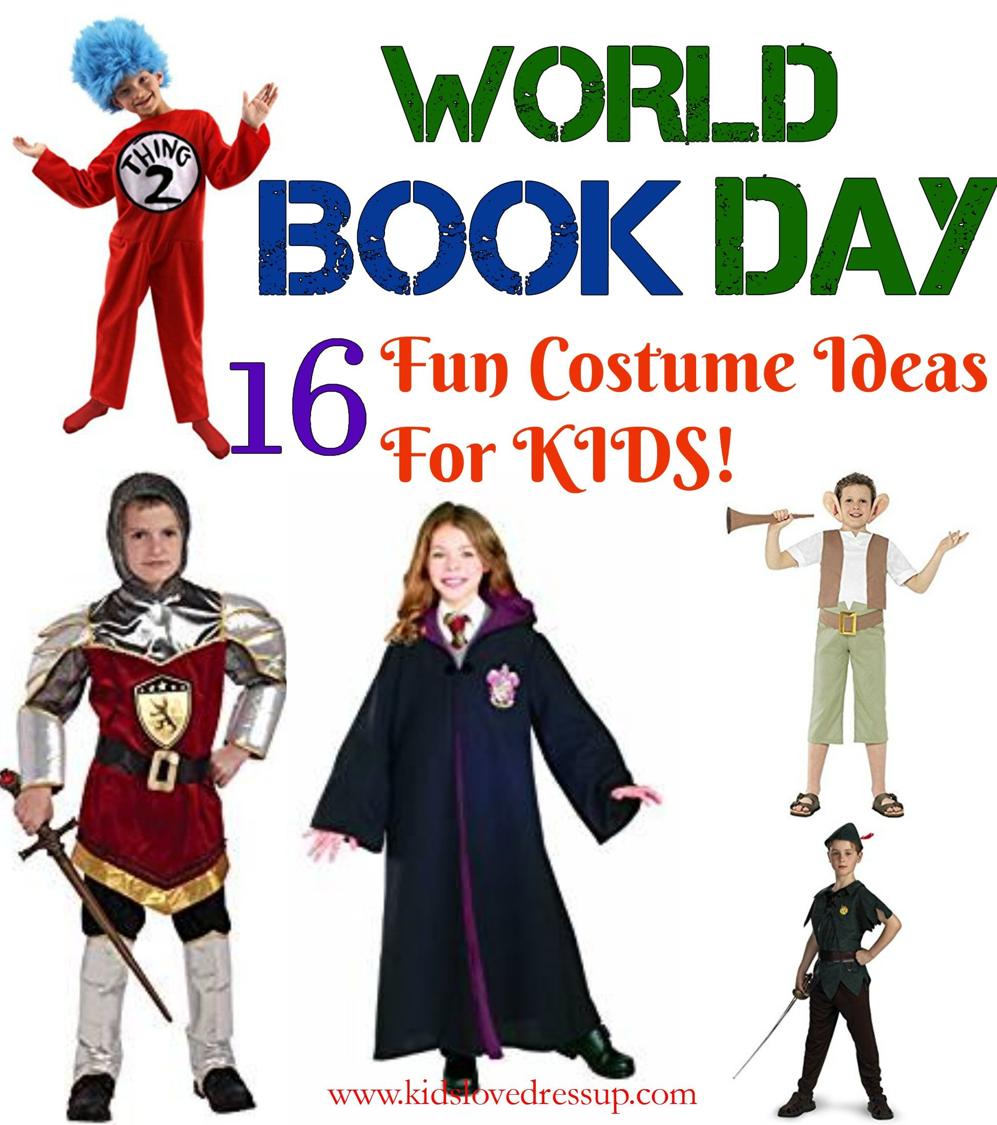 16 Kids World Book Day Costumes Ideas For Book Character Dress Up World Book Day Dr Kids Book Character Costumes Book Characters Dress Up Book Day Costumes