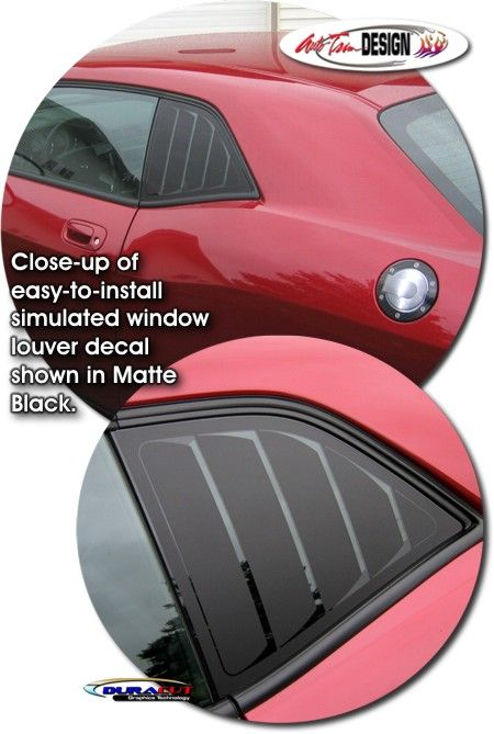 Simulated window louver decal kit for dodge challenger
