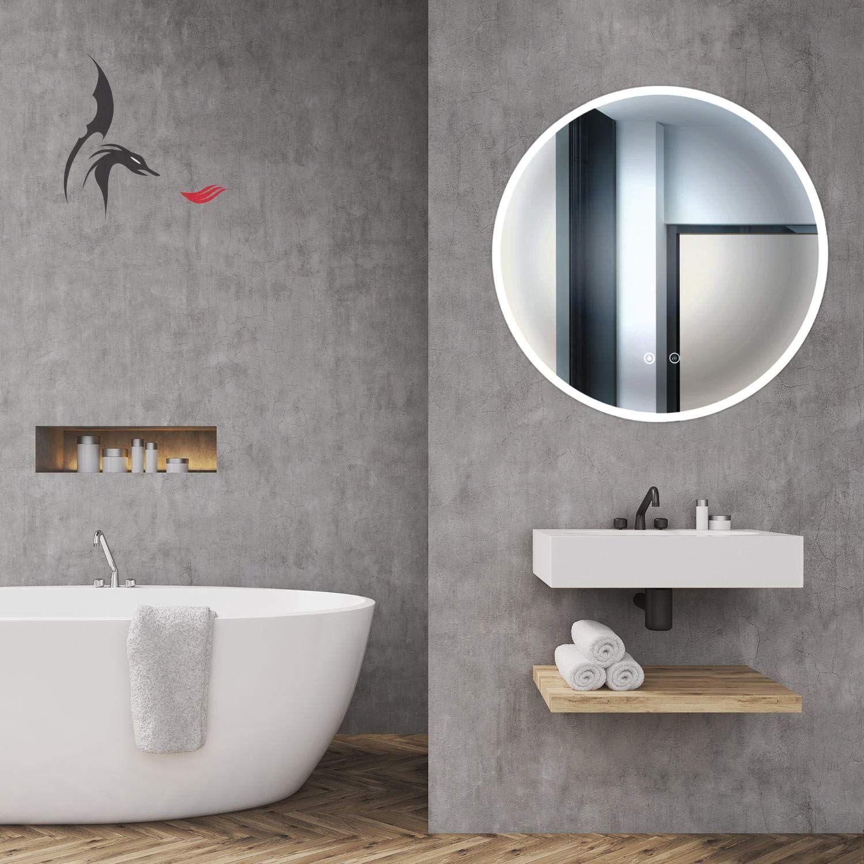 Hoko Runder Led Bad Spiegel Freiburg 80cm Mit Antibeschlag Spiegelheizung Aussen Led Bathroom Mirror Lighted Bathroom Mirror Round Mirror Bathroom