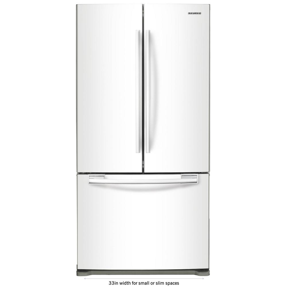 Samsung 33 In W 17 5 Cu Ft French Door Refrigerator In White Counter Depth Rf18hfenbww 2 In 2020 French Door Refrigerator Tempered Glass Shelves French Doors