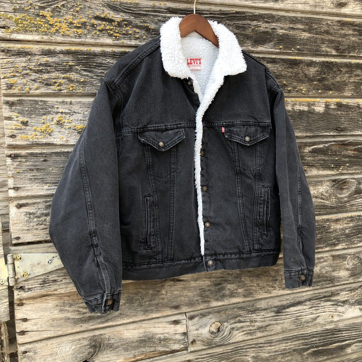 Vintage Levi S Sherpa Trucker Jacket Black Denim Grunge Coat Warm 90s Levis Faded Black Jean Jacket Bomber 80s Red Tab Levi Men L Large 48 Faded Black Jeans Black Jean Jacket