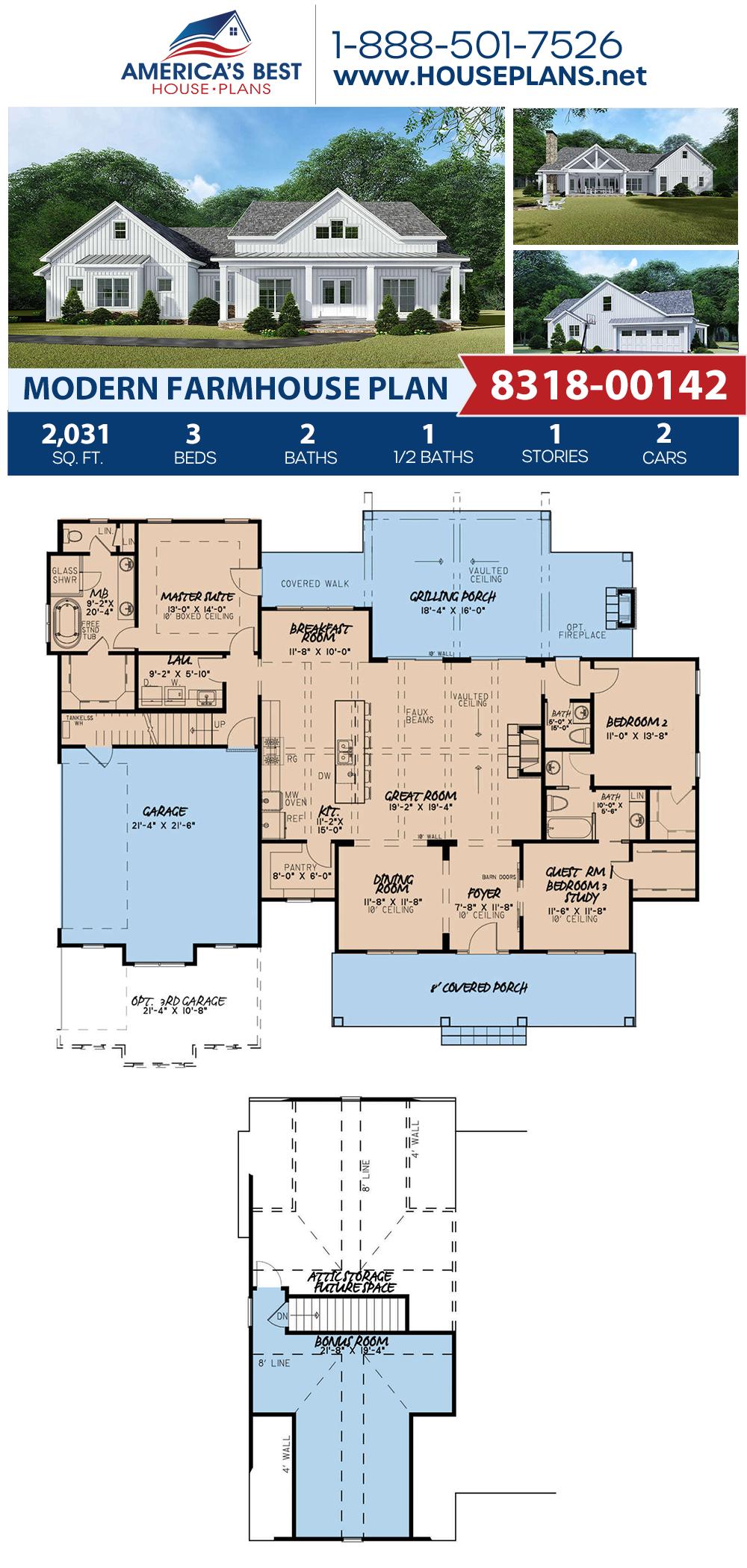 House Plan 8318 00142 Modern Farmhouse Plan 2 031 Square Feet 3 Bedrooms 2 5 Bathrooms Modern Farmhouse Plans Farmhouse Plans House Plans Farmhouse