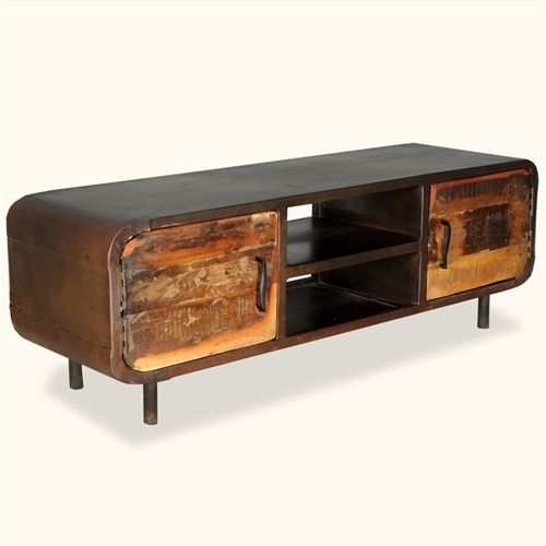 Top Reclaimed Wood & Iron 1950's Retro Media Console Cabinet | Media  NC91