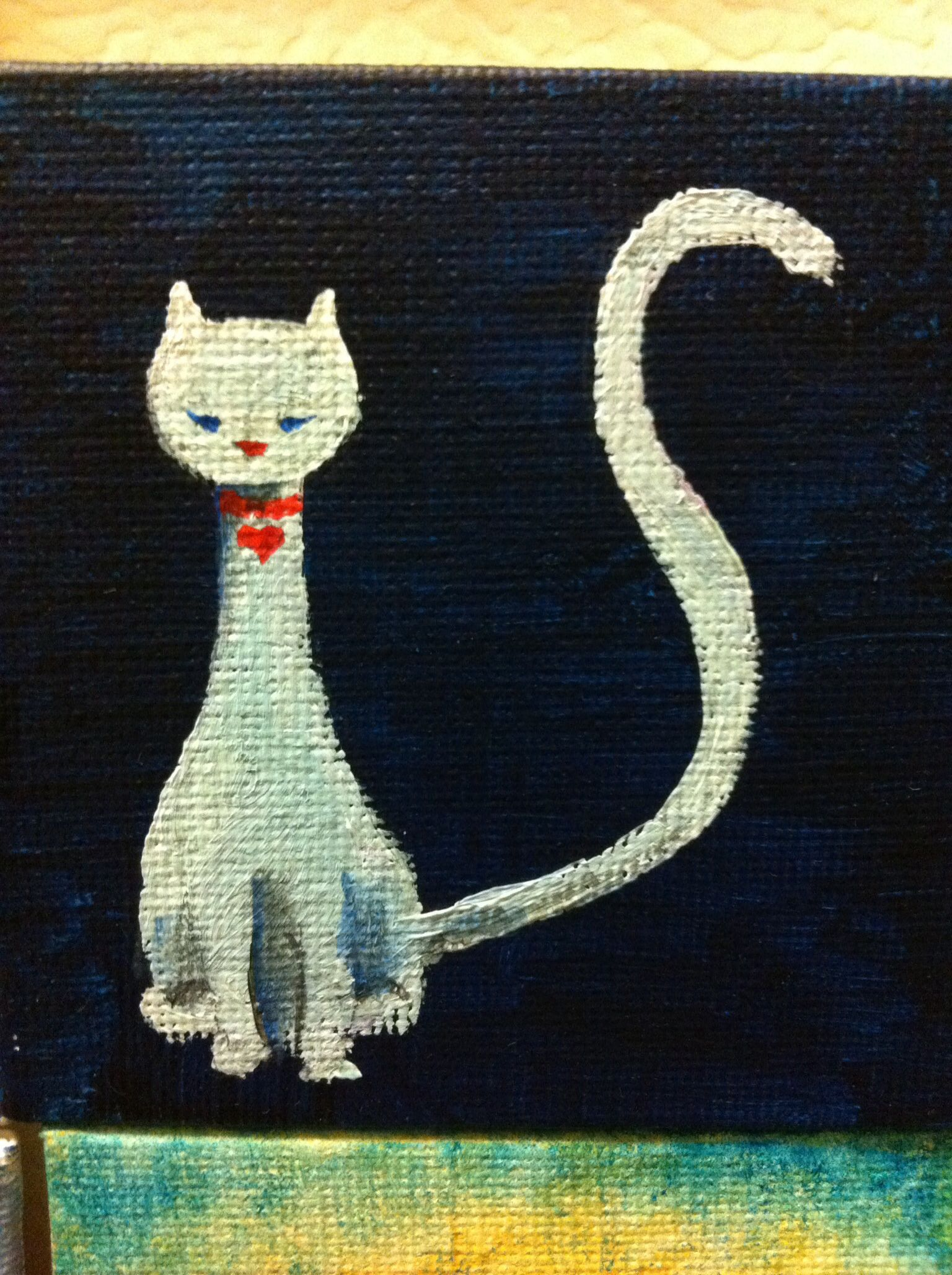 #cat #acrylic #painting on a #mini canvas