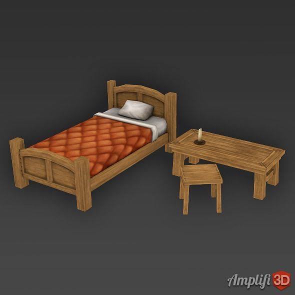 Low Poly Cartoon Bed Set Bedding Sets Bed Medieval Furniture