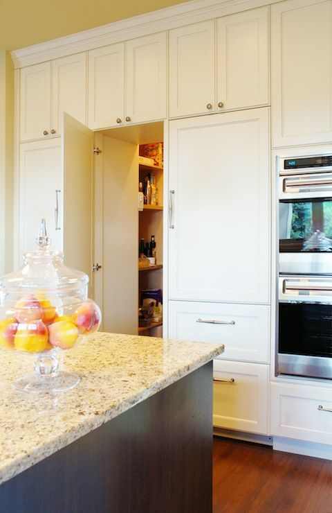 hidden pantry behind cabinet doors. doubles as a secret hiding place ...
