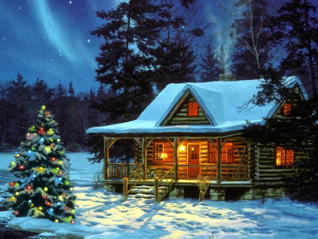 Christmas Cabin Christmas Landscapes Wallpaper Image
