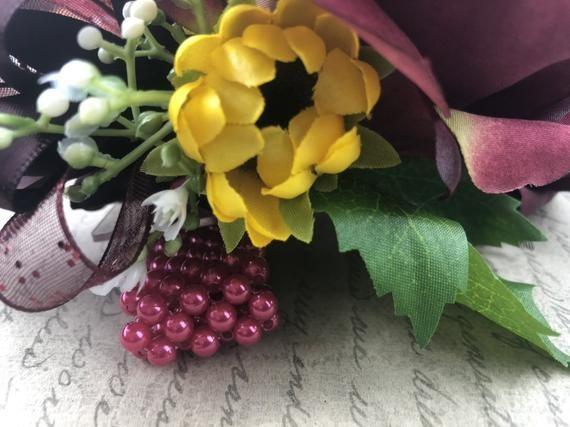 Artificial Burgundy Sunflower Bridal Bouquet, Wine and Sunflower Bridal Flowers, Sunflower Wedding Flowers #brautblume