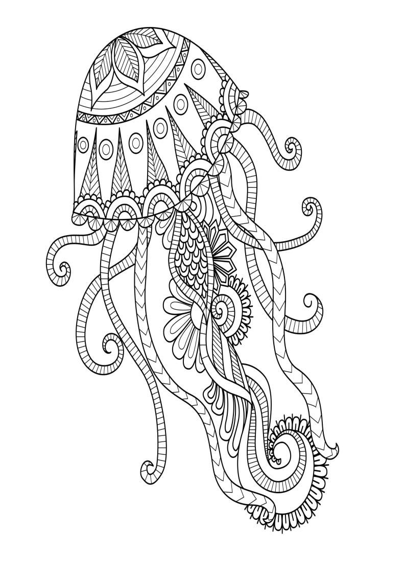Mindfulness Coloring Jellyfish Mandala Coloring Pages Mandala Coloring Animal Coloring Pages