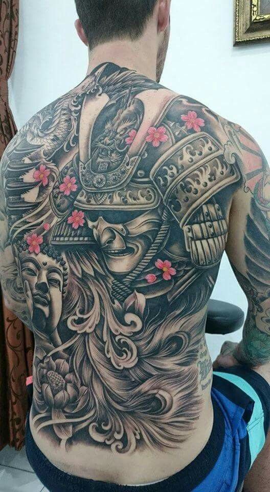 Full back samurai tattoo Back tattoo