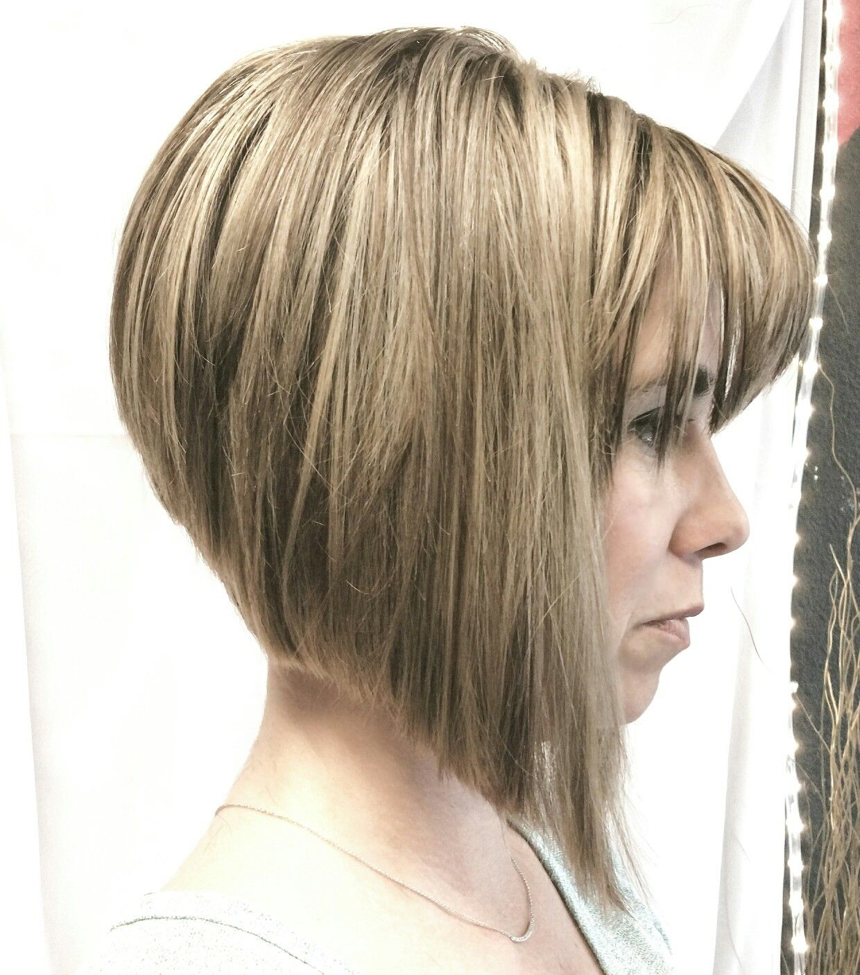 Womens Asymmetrical Bob Haircut Blonde Highlights Hair Art By