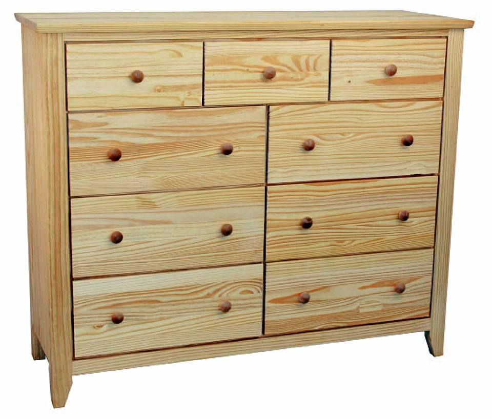 9 drawer unfinished solid pine wood dresser with full for Solid wood furniture