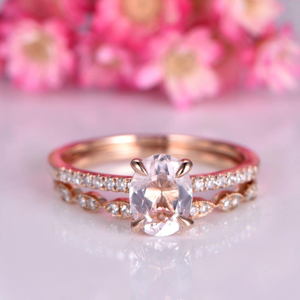 Morganite engagement ring morganite ring set 6x8mm oval gemstone art ...