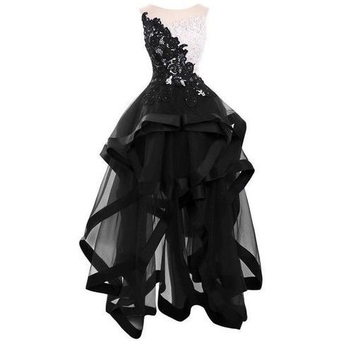 Black Lace Appliques Homecoming Dresses,Elegant Round Collar Sleeveless Party Dresses,Tulle High-Low Homecoming Dresses.35