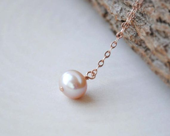 Rose Gold Pearl Necklace Pink Pearl Necklace by SongYeeDesigns