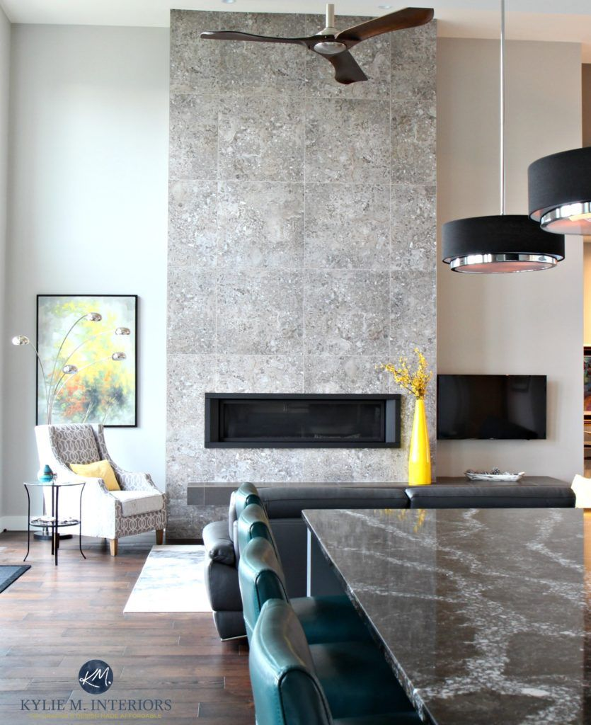 Contemporary 2 Storey Fireplace With Modern Tile Linear Gas Insert Floating Hearth And Fan Quartz Countertop Is Ellesmere By Cambria
