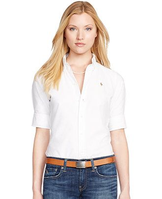 Polo Ralph Lauren Short-Sleeve Oxford Shirt - Tops - Women - Macy's