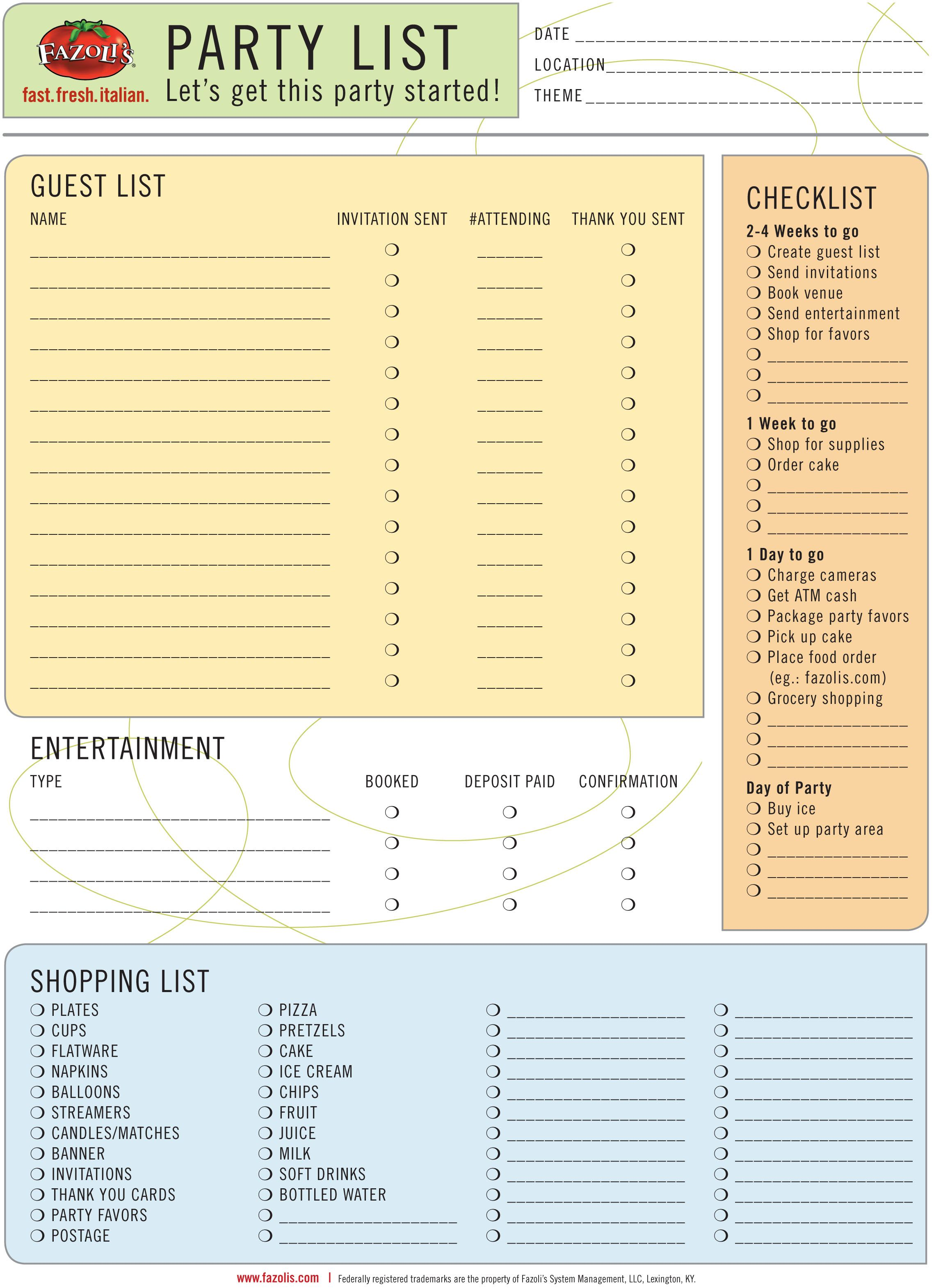 Lets Get The Party Started Printable Party Planning List #Fazolis