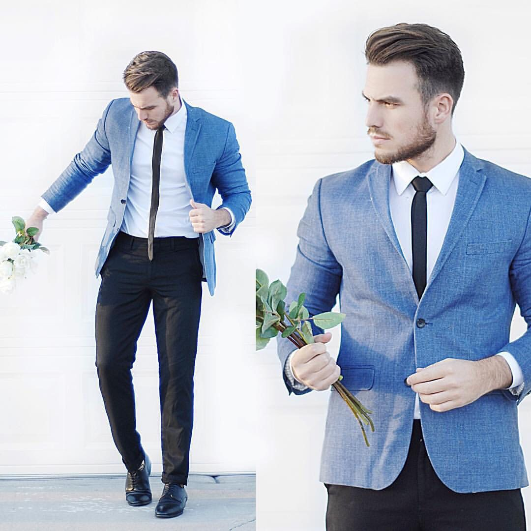 Light blue blazer teamed with black trousers and tie | Fashionista ...