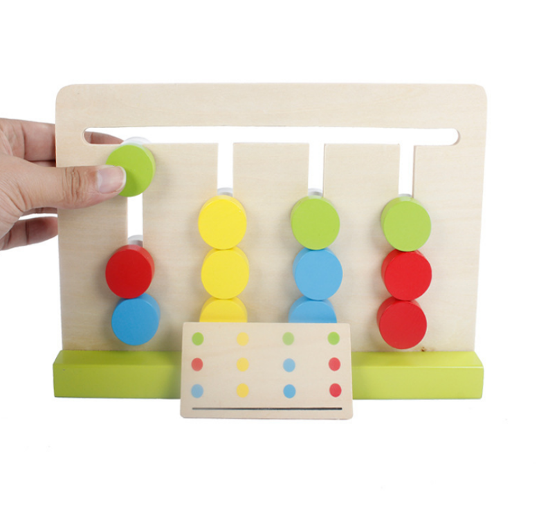Wooden Toy Montessori Four Colors Logical Thinking Game A Wooden