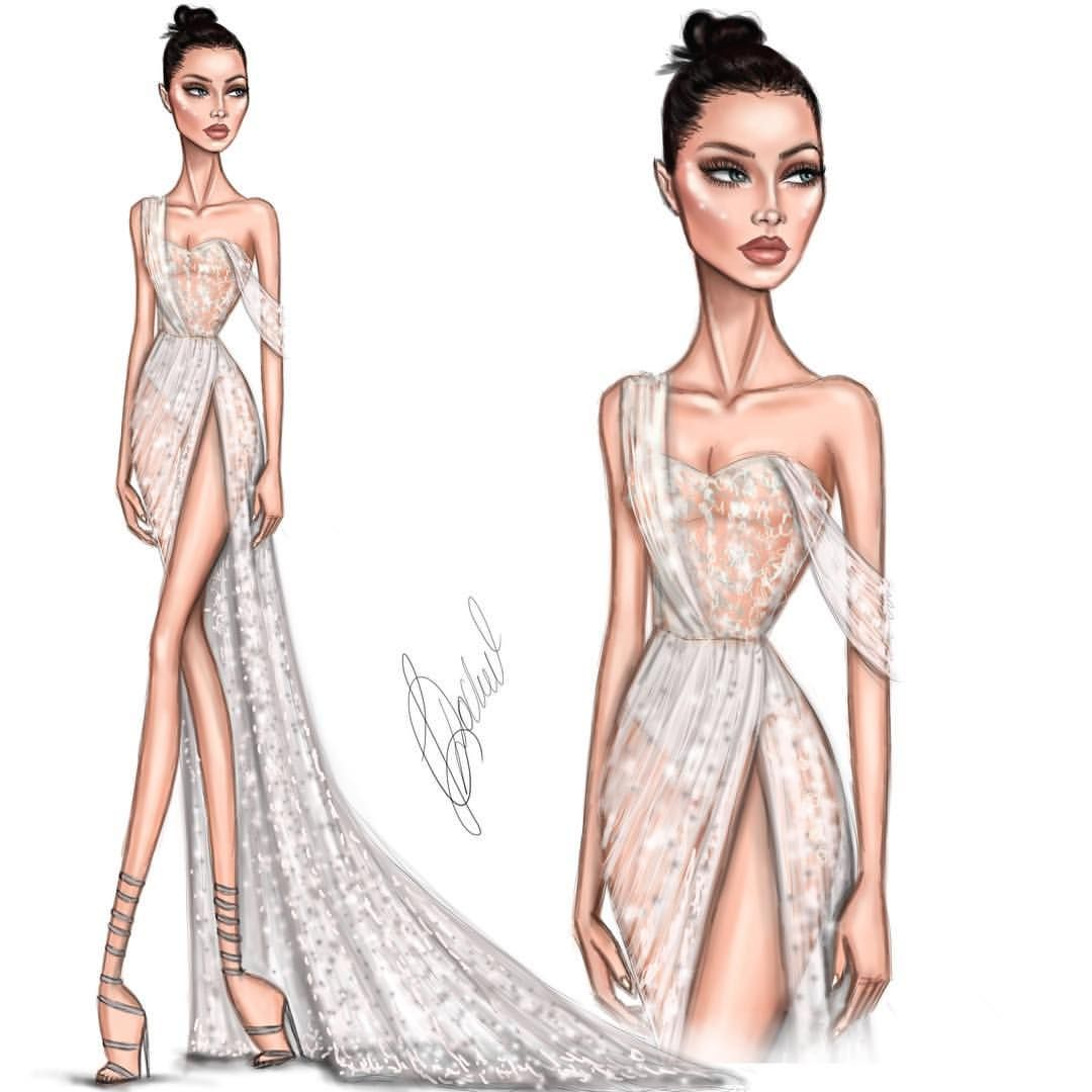 """Photo of Lyubomir Dochev on Instagram: """"@bellahadid in @ralphandrusso at Cannes 2017 @amfar #Ldochev #fashion #illustration #Cannes2017 #BellaHadid Share your opinion and tag…"""""""
