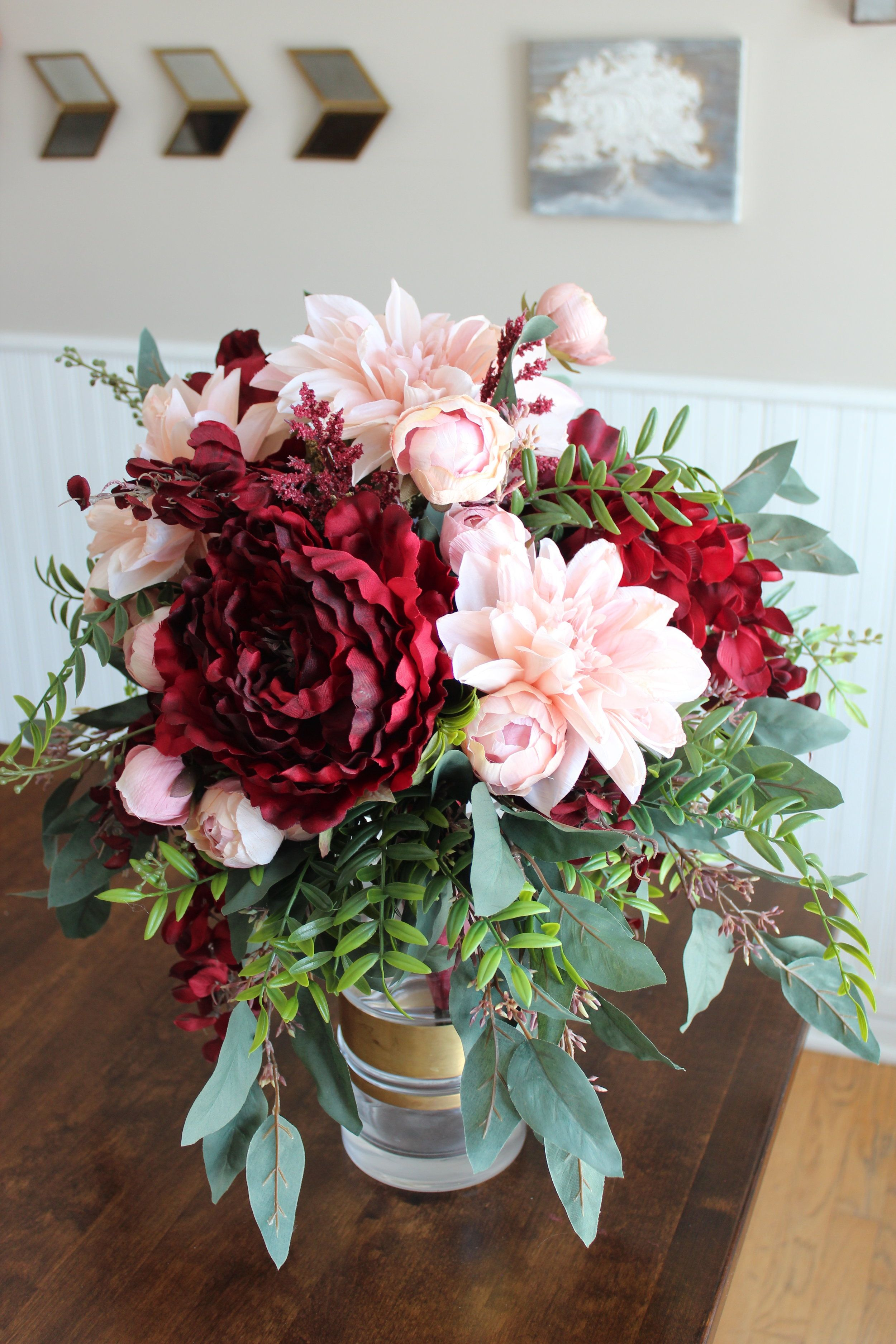 Burgundy Dahlia & Blush Peony Cascade Silk Wedding Bouquet