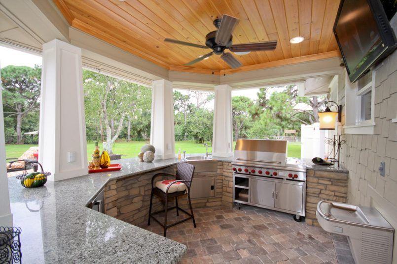 Wonderful Backyard Outdoor Kitchen Patio Mediterranean With Outdoor Bar Ceiling Fan  Outdoor Refrigerator Backyard With An Outdoor