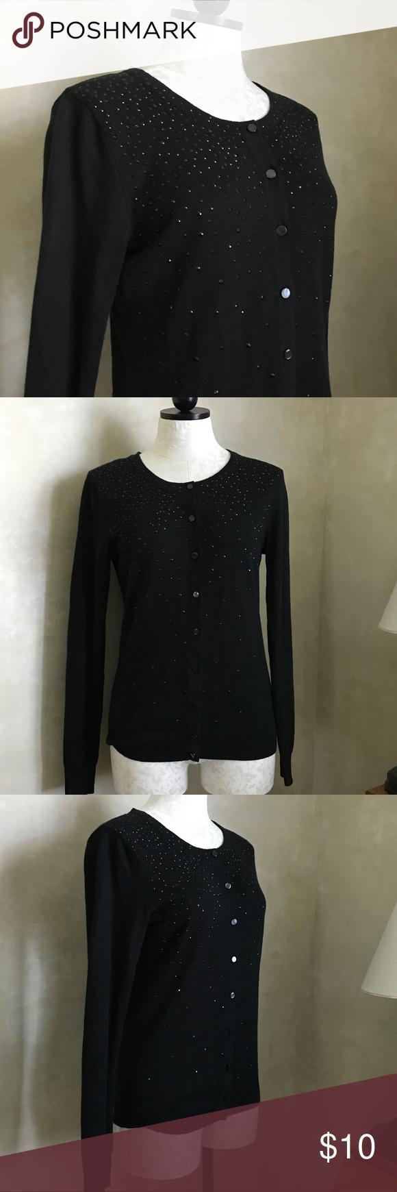 Merona Black Beaded Cardigan Sweater Sz Small | Beads and 21st