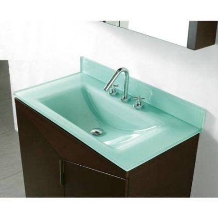 36 Quot Tempered Glass Vanity Top With Integrated Sink Top Finish