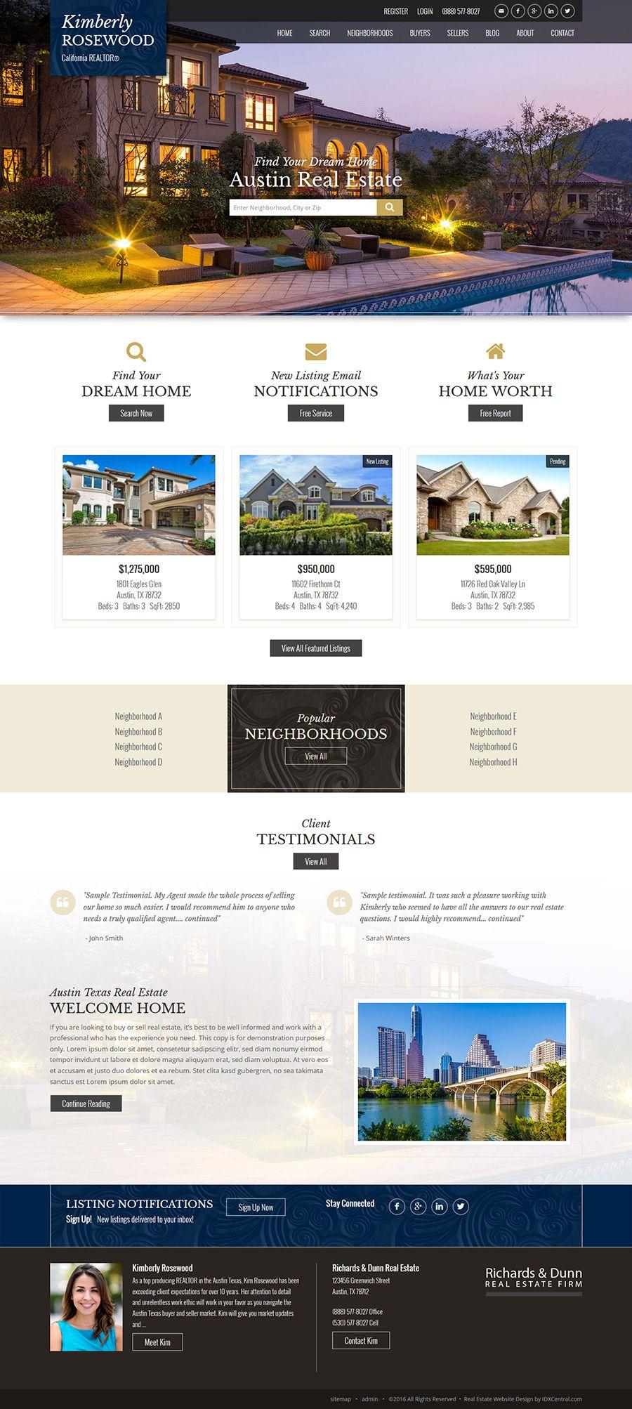 Semi Custom Website Design Austin Our Austin Theme In Dark Blue With Scroll Backgro Real Estate Website Design Real Estate Web Design Custom Website Design
