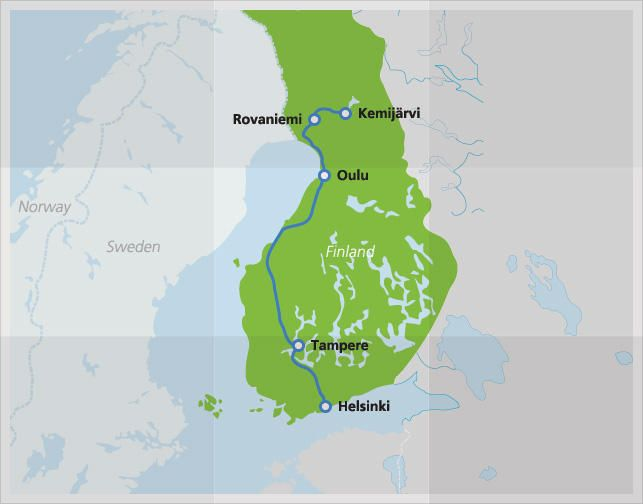 Map with route of Santa Claus Express Finland Fall 2018