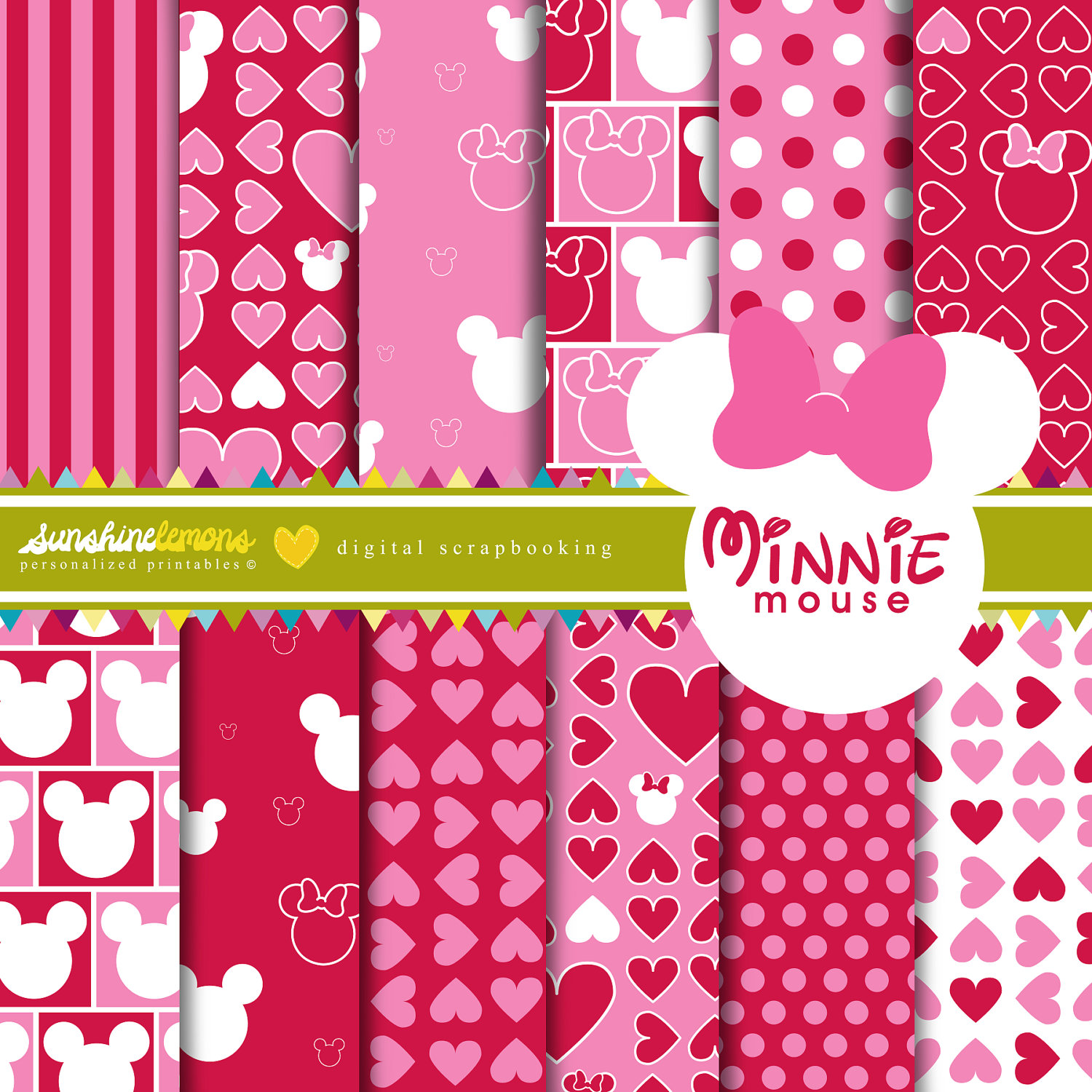 Scrapbook paper disney - Minnie Mouse Digital Paper Pack Set Of 12 Papers