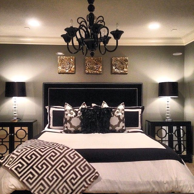 High Quality @shegetsitfromhermamau0027s Bedroom Is Stunning With Our Kate Headboard, Calais  Chandelier, Mykonos Throw, · Black Master BedroomWhite ...
