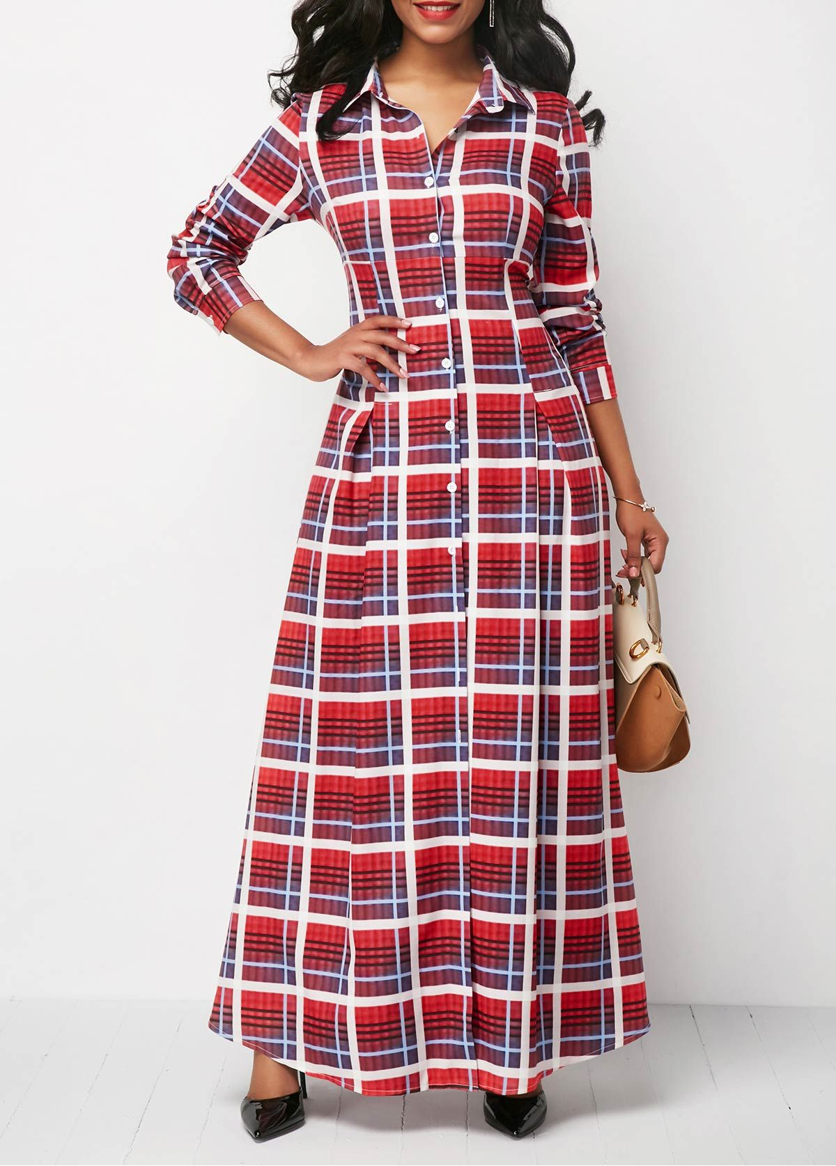 Long Sleeve Plaid Print Button Up Maxi Dress on sale only US$36.32 ...