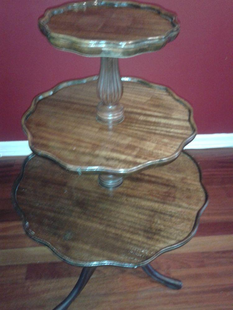 Vintage 3 Tier Duncan Phyfe Style Mahogany Pie Crust Table Antique Table Duncan Phyfe Table
