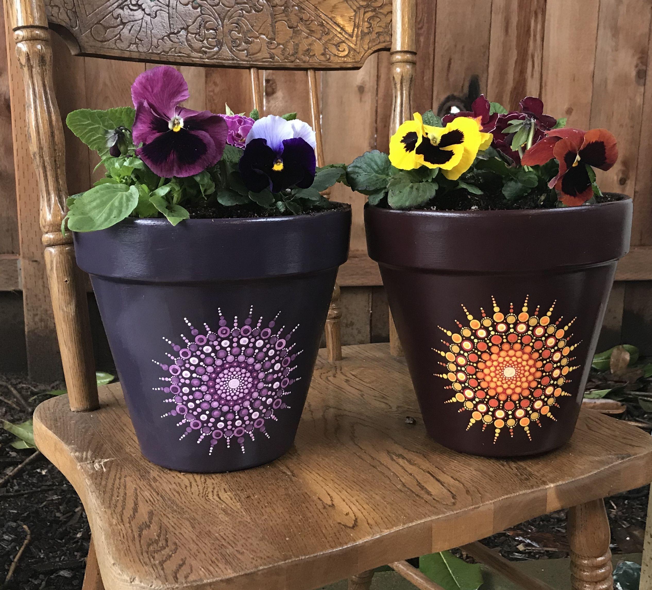Gardendesign Books: Hand Painted Mandala Pots By DelaneyRoseDesign. #mandala