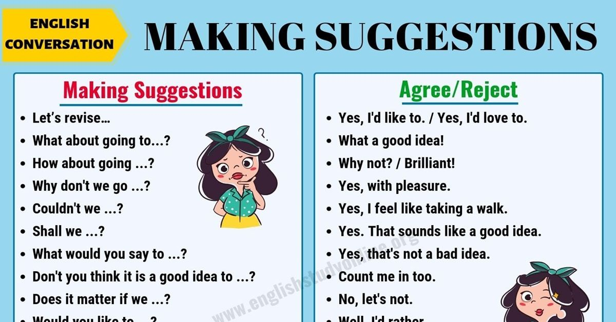 Making Suggestions Many Useful Phrases To Make Suggestions In English English Phrases Suggestion English Study