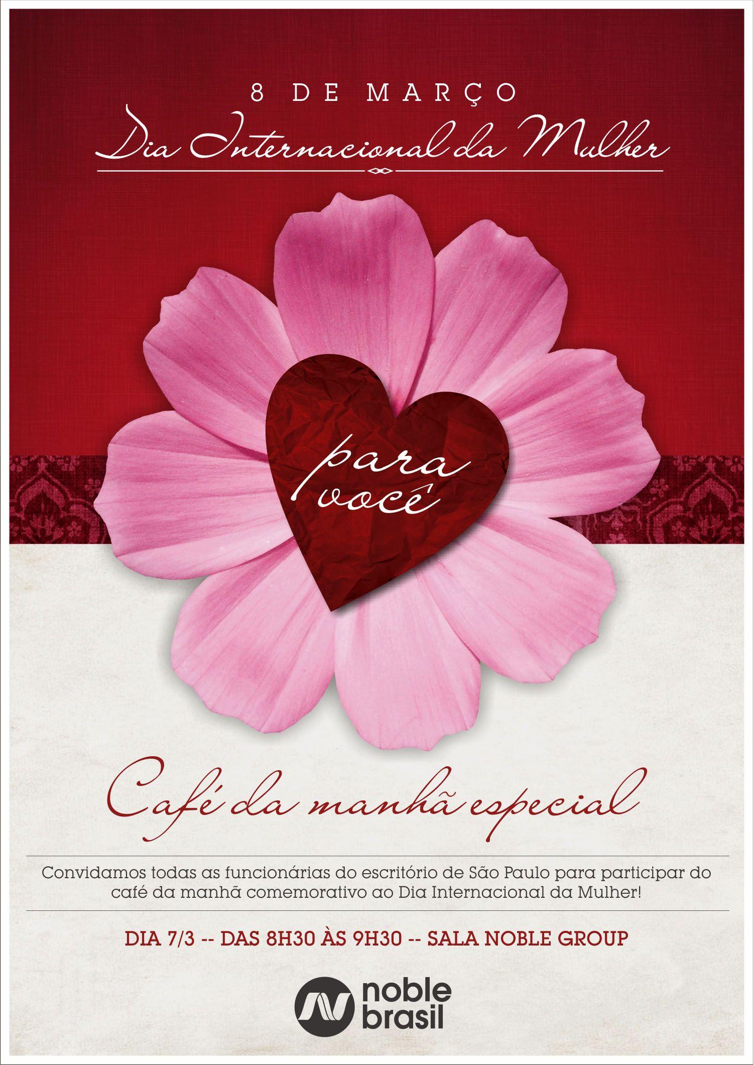 Dia Internacional da Mulher - Convite café da manhã especial