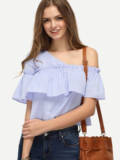 60816b59e3 Shop Blue Striped One Shoulder Ruffle Blouse online. SheIn offers Blue  Striped One Shoulder Ruffle Blouse & more to fit your fashionable needs.
