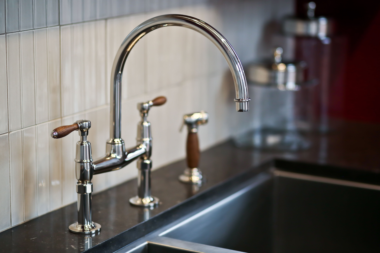 Easton Classic Two Hole Bridge Gooseneck Kitchen Faucet Oak Lever Handles And Spray Gooseneck Kitchen Faucet Kitchen Faucet Faucet