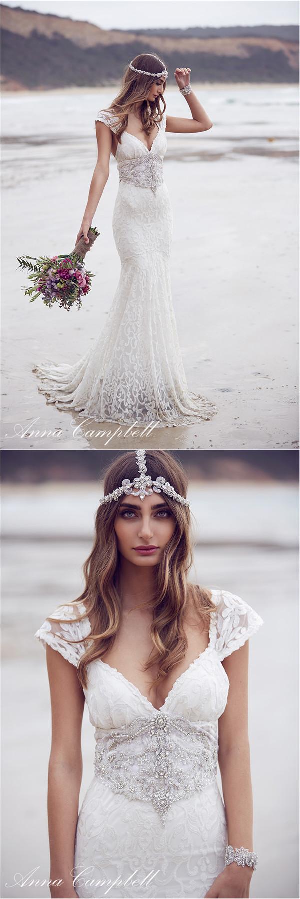 Anna Campbell figurbetonte V-Ausschnitt Brautkleider mit Spitze und ...