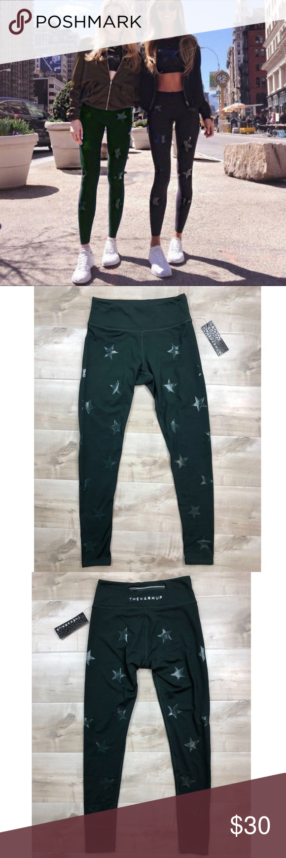 5d33221429824 NEW Jessica Simpson Army Green Star Ankle Leggings NEW Jessica Simpson  Workout Star Ankle Leggings Army