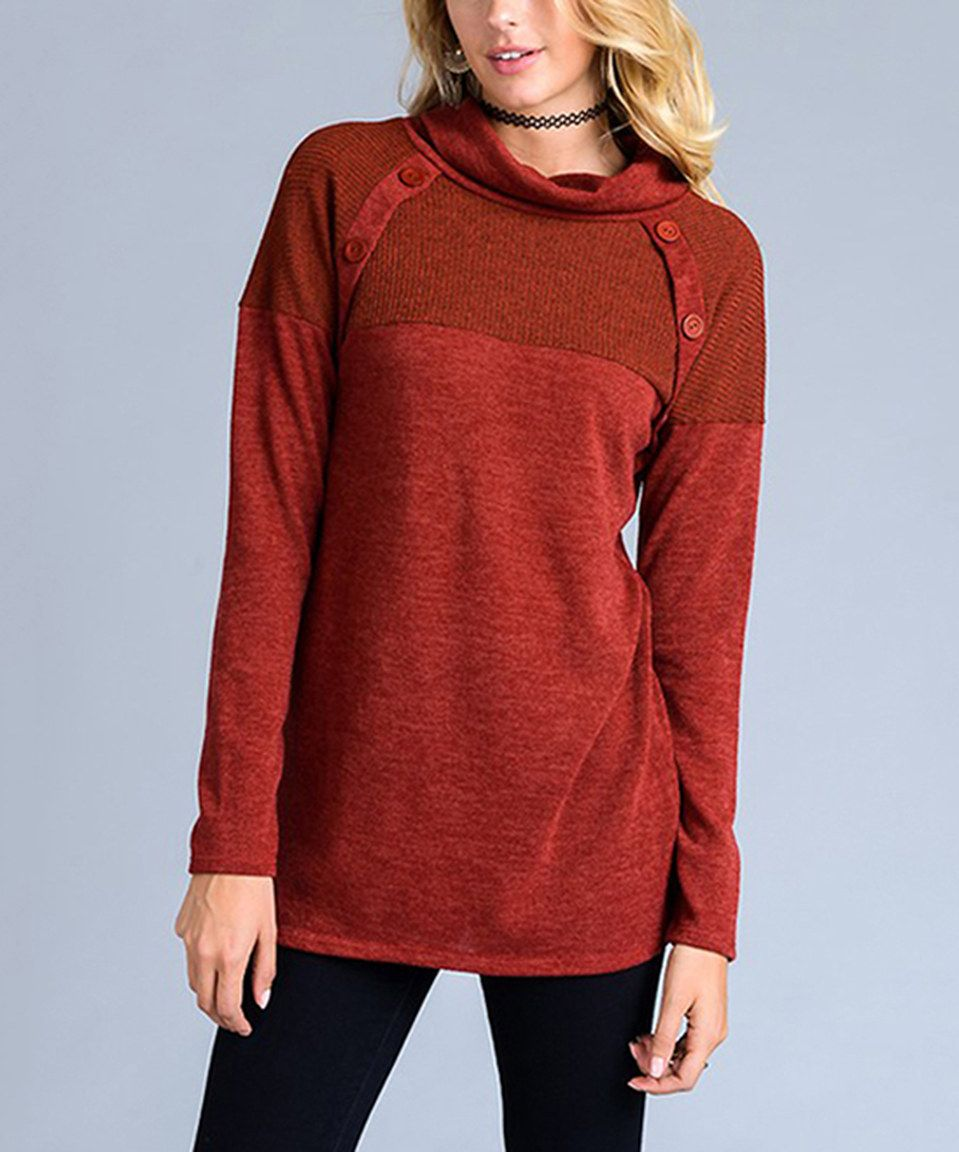 Love this Rust Button-Accent Cowl Neck Tunic by Lydiane on #zulily ...