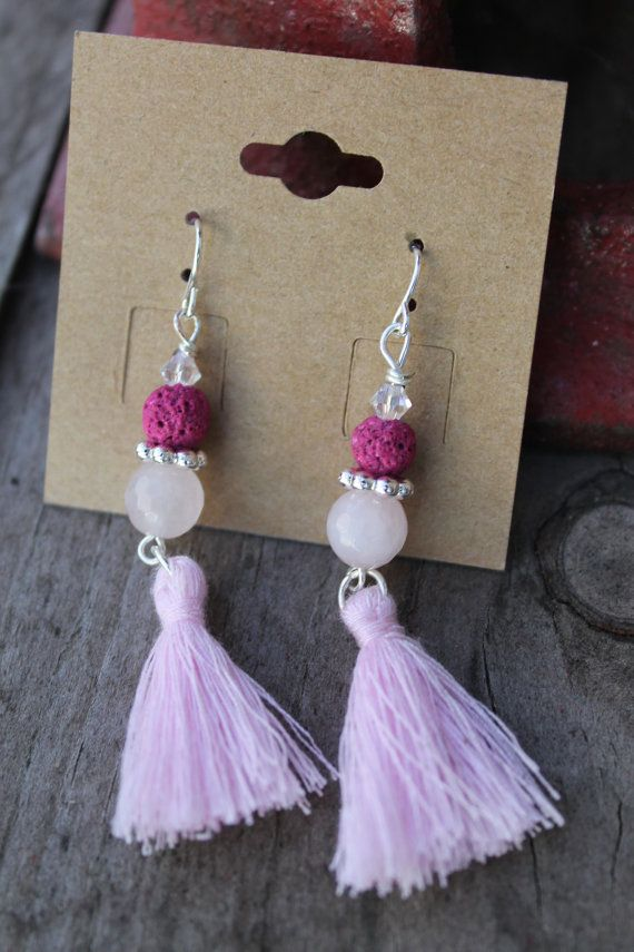 Essential Oil Diffuser Tassle Earrings  Lava Rock by YoganicsShop