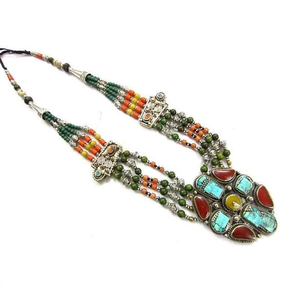 Tribal Necklace Statement Necklace Traditional by BeadsNdBeyond