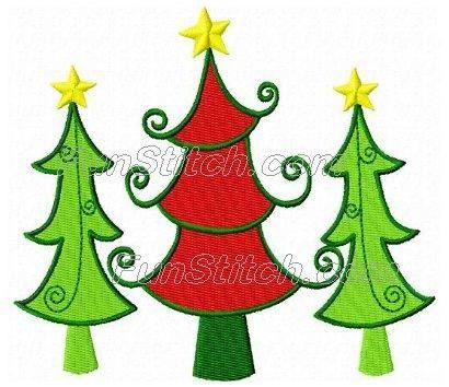 Christmas Tree Trio Machine Embroidery Design By Funstitch On Etsy Machine Embroidery Embroidery Designs Applique Patterns