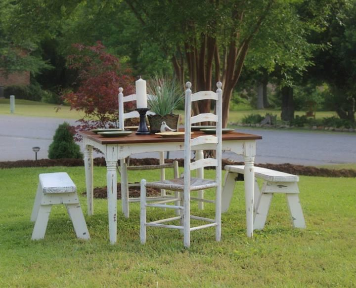 PAINTED WHITE DISTRESSED FARM TABLE FROM VINTAGE VISION FURNITURE IN HUDSON, NC.  SEE MORE AT:  http://www.facebook.com/vintagevisionstore