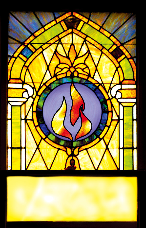Stained Glass Window Depicting The Flame Symbol For St Jude