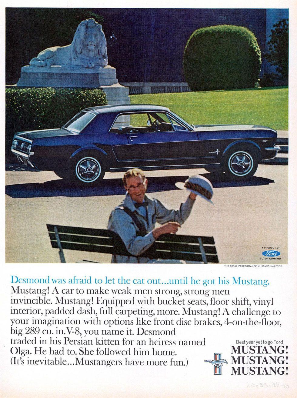 publicit la ford mustang dans les ann es 60 cars and. Black Bedroom Furniture Sets. Home Design Ideas